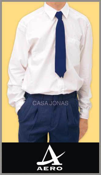 Camisa Aero colegial escolar blanca con bolsillo talles 36/42