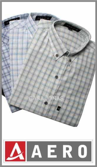 Camisa escocesa algodón/poliester manga corta Aero talles 46/50