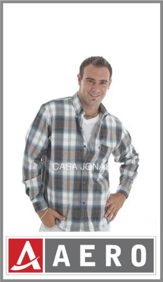 Camisa escocesa algodón/poliester manga larga Aero talles 38/44