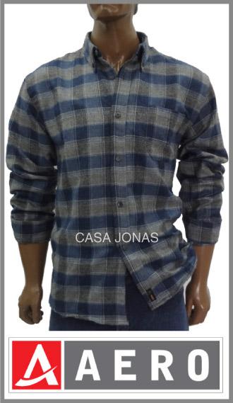 Camisa pilú escocesa algodón/poliester manga larga Aero talles 38/44