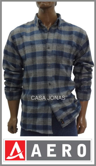 Camisa pilú escocesa algodón/poliester manga larga Aero talles 46/50