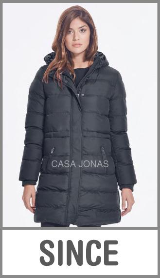 Campera larga inflada invierno c/capucha p/mujer lisa talles L/XL