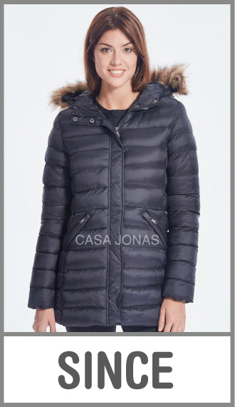 Campera larga inflada invierno c/capucha p/mujer lisa talles XS/M