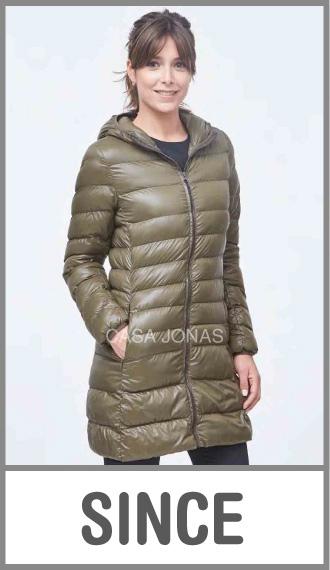 Campera larga invierno c/capucha p/mujer ultraliviana lisa talles XS/M