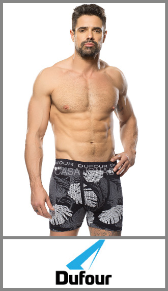 Boxer s/costura microfibra estampado de hojas p/hombre Dufour t S/XXL