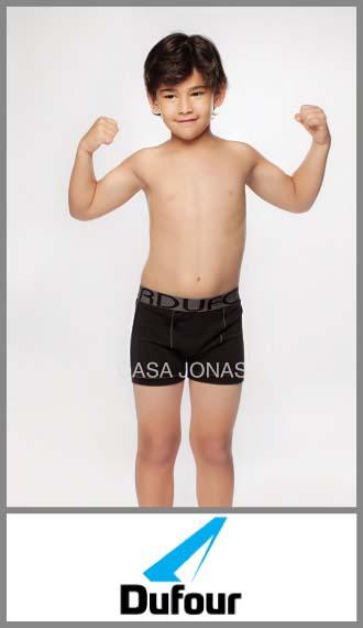 Boxer algodn/lycra liso elastico bordado para niño Dufour t 10/14