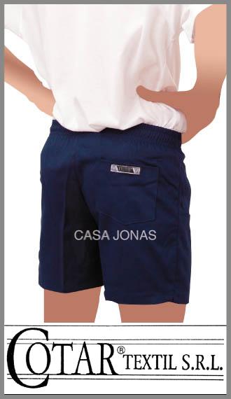 Short colegial de gabardina Cotar colores blanco / azul talles 12/16