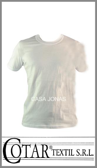 Remera en jersey blanco 100% algodón colegial escolar Cotar talle 12/16