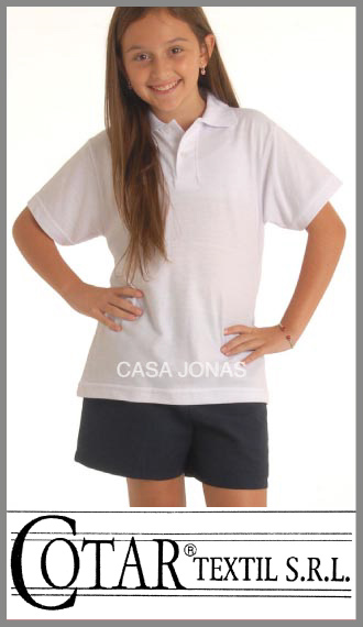 Chomba de pique blanco colegial escolar Cotar talles de adulto M/XL