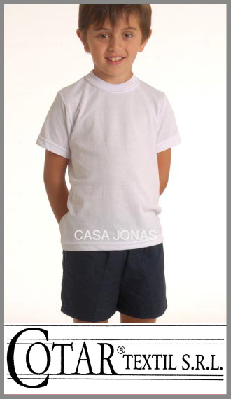 Remera de pique blanco colegial escolar Cotar talles 12/16