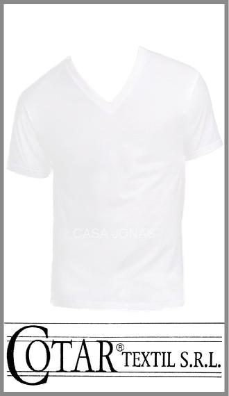 Camiseta de algodon manga corta cuello V Cotar talles 38/44