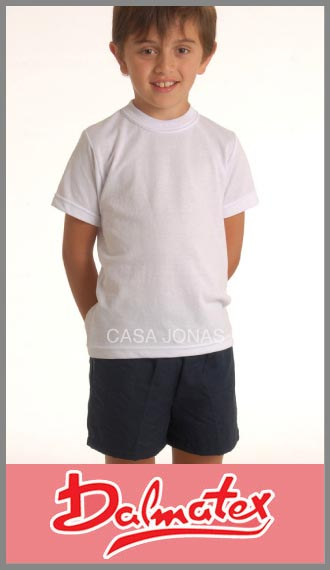 Remera de pique blanco colegial escolar Dalmatex talle juvenil