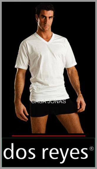Camiseta de algodon manga corta cuello V Dos Reyes talles 38/44