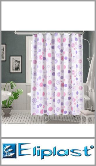 Cortina de baño plastica doble pesada estampada Eliplast 1.80m x 1.80m