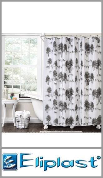 Cortina de baño plastica doble liviana estampada Eliplast 1.80m x 1.80m