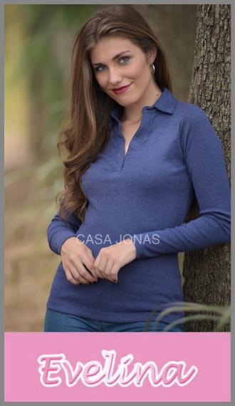 Remera manga larga cuello en V con botones Evelina para mujer S/XL