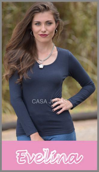 Remera manga larga en modal cuello redondo Evelina para mujer t 1/4