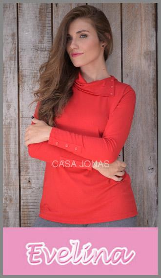 Remera m larga modal botones en el cuello Evelina p/mujer talles S/XL