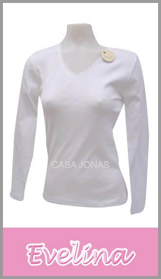 Camiseta para mujer manga larga cuello V Evelina talles 1/4