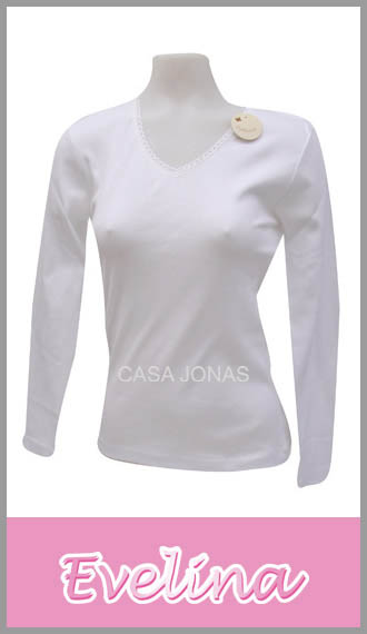 Camiseta para mujer manga larga cuello V Evelina talles 5/6