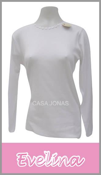 Camiseta para mujer manga larga con guipiur Evelina talles 1/4