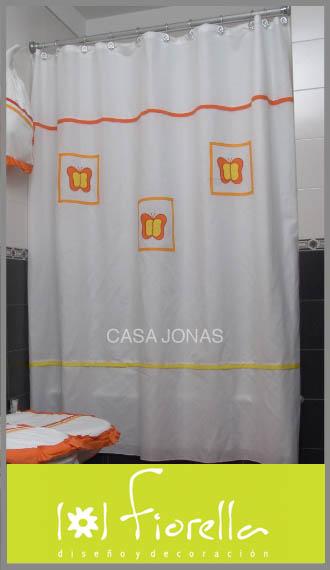 Cortina de baño con bordado Fiorella 1.80m x 1.80m
