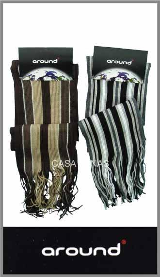 Bufanda Around acrílico tejido rayada con flecos 20cm x 160cm p/hombre