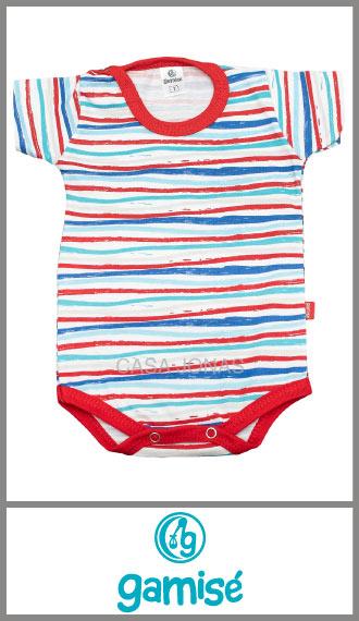 Body manga corta rayado intenso Gamise para nene verano talles 0/4