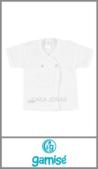 Batita algodon blanco liso Gamise p/verano broche de metal talles 0/3