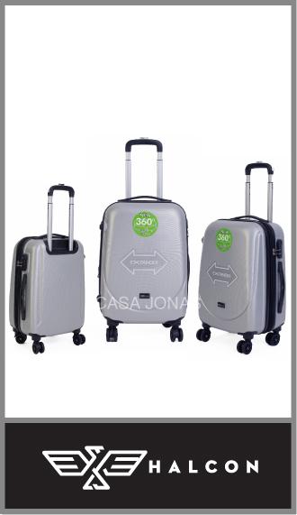 Set de 3 valijas Halcón material ABS rígidas con 4 ruedas 360°