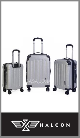 Set de 3 valijas Halcón ABS rígidas con 4 ruedas 360°