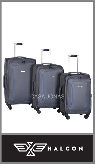 Set de 3 valijas Halcón con 4 ruedas 360° y fuelle amplio