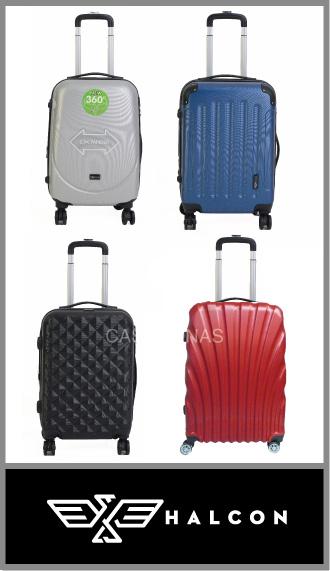 Set de 3 valijas Halcón ABS rígidas con 4 ruedas 360° - Promo 3 Juegos-