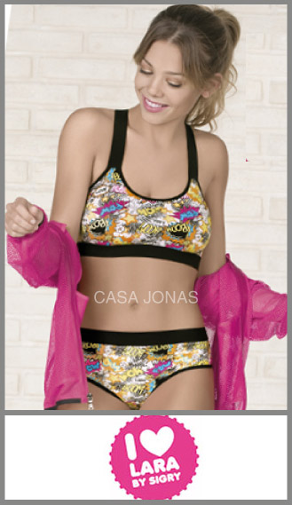Conjunto Lara algodón con lycra corpiño deportivo con culote less 1-2-3