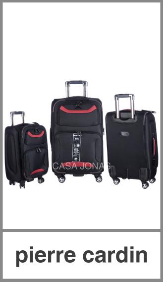 Set de 3 valijas Pierre Cardin Plus Ruedas 360º Negro con bordó
