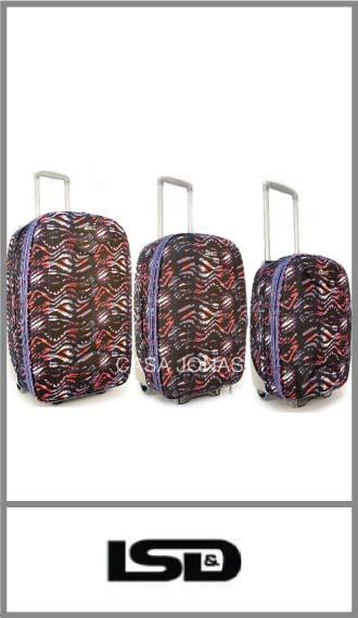 Set de 3 valijas Lsd travel estampadas con fuelle