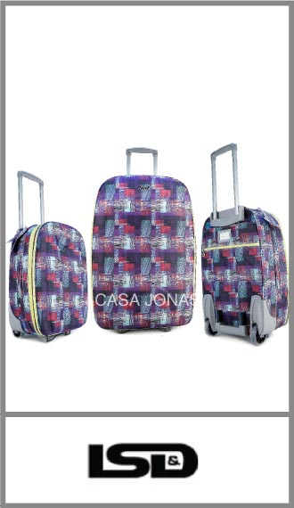 Set de 3 valijas Lsd travel estampadas con fuelle