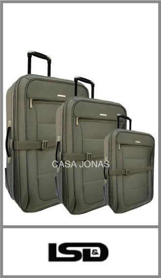 Set de 3 valijas Lsd con bolsillo frontal, fuelle y porta traje
