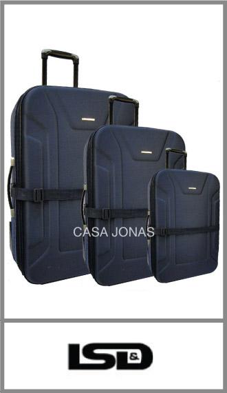 Set de 3 valijas Lsd travel con fuelle y porta traje