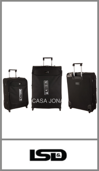 Set de 3 valijas Lsd Travel Time con fuelle, color Negro