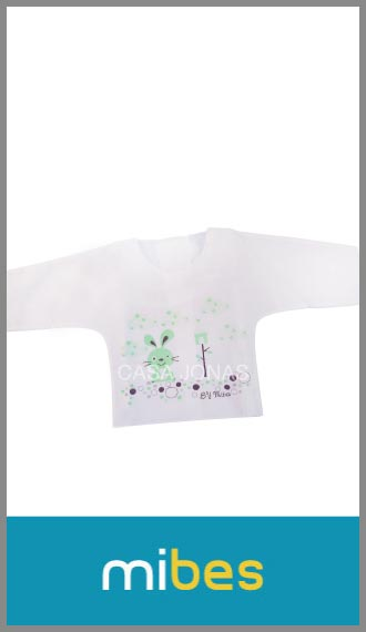 Batita Mi-Bes manga larga en algodón/poliester estampada cruzada atrás