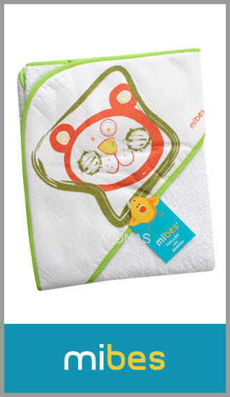 Toallon con capucha 100% algodon para bebe Mi-Bes