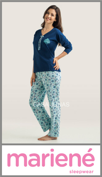 Pijama manga larga estampdo Mariene talles especiales 56/58