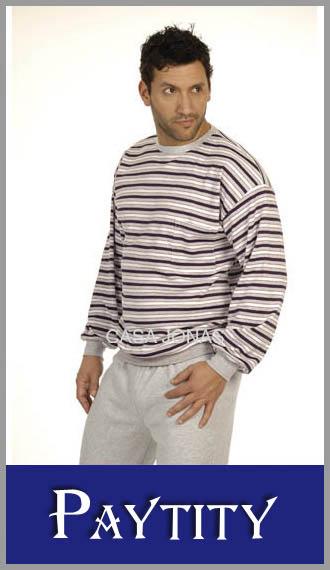 Pijama interlock rayado cuello redondo para hombre Paytity talles 56/60