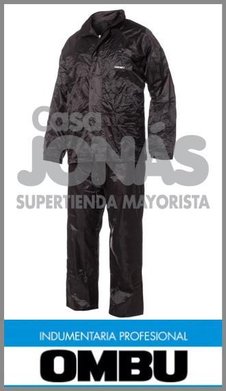 Traje de agua impermeable, negro con capucha Ombu talles L/3 XL