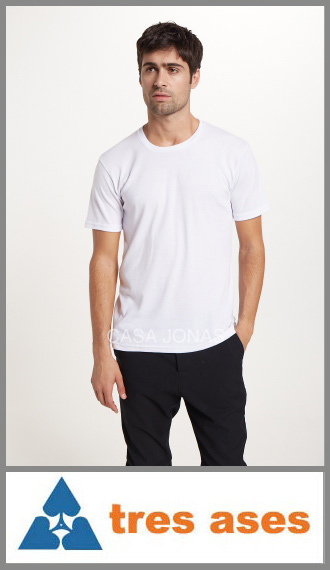 Camiseta de interlock manga corta cuello redondo 3 Tres Ases T. 46/48