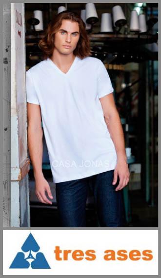 Camiseta de interlock manga corta cuello V 3 Tres Ases talles 38/44