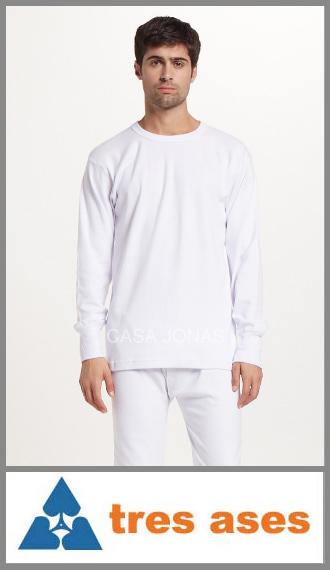 Camiseta de interlock manga larga cuello redondo 3 Tres Ases T. 46/48