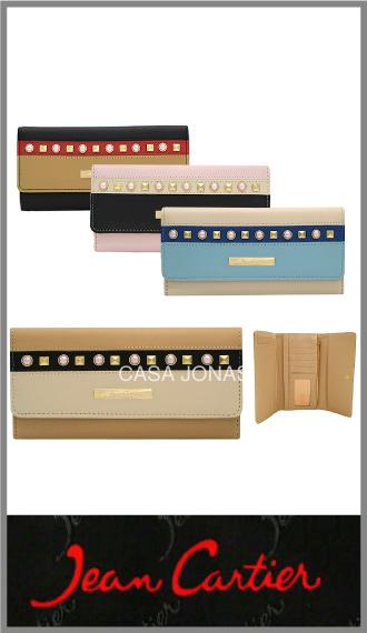 Billetera Jean Cartier mujer con tachas, broche y cierre 18cm x 9cm