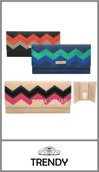 Billetera Trendy para mujer bordada, broche y cierre 18cm x 9cm